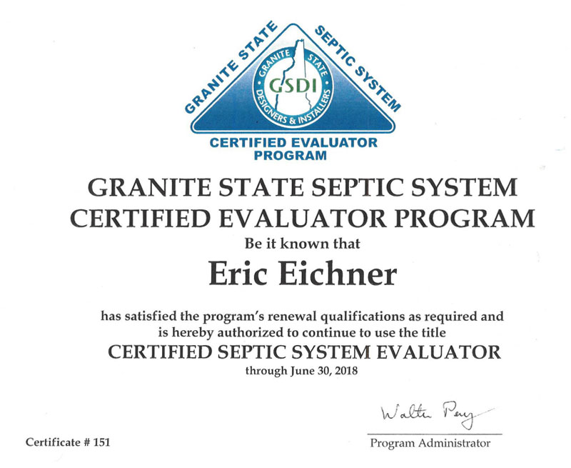 Granite State Septic System Certification